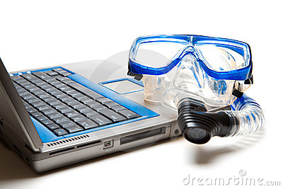 Snorkel and laptop