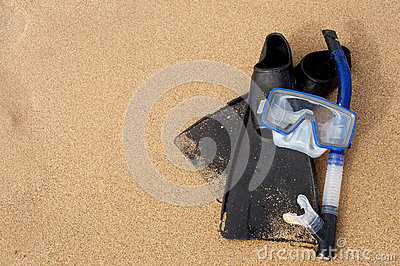 Snorkel Mask & Flippers on Sand at Beach