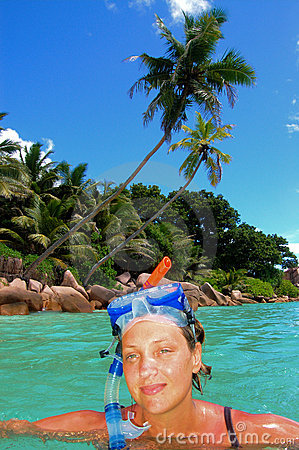 Snorkeler on tropical island