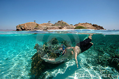 Snorkeler in tropical ocean