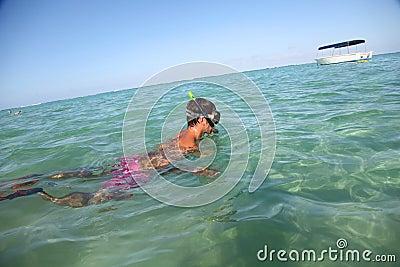 Snorkeler in water