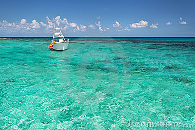 Snorkeling boat on the Caribbean Sea
