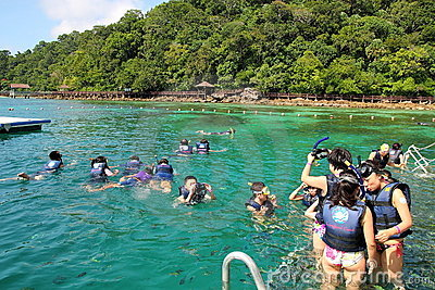 Snorkeling at Coral Beach Editorial Stock Photo