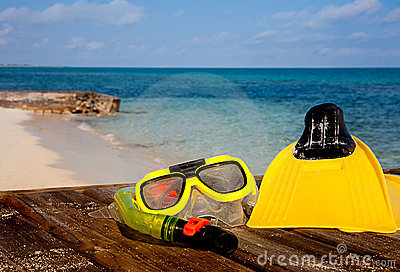 Snorkeling gear on beach
