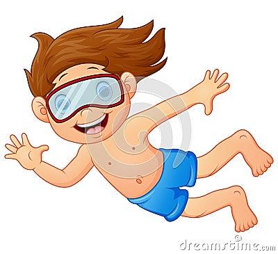 Free Snorkeling Kid Waving Hand Royalty Free Stock Image - 69708596