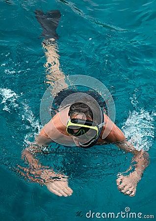 Snorkeling man.