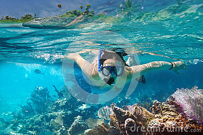 Snorkeling in the tropical water of Mexico