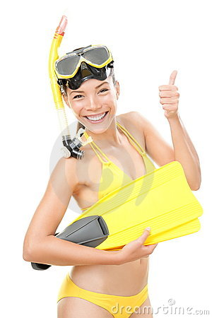 Free Snorkeling Vacation Woman Isolated Royalty Free Stock Photography - 19126417