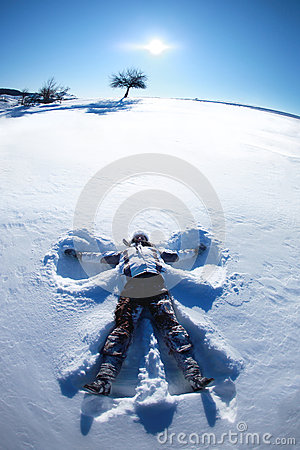 Free Snow Angel On A Hill Royalty Free Stock Photography - 36132237