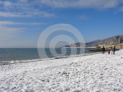 Snow at the Black Sea coast Sochi, Russia