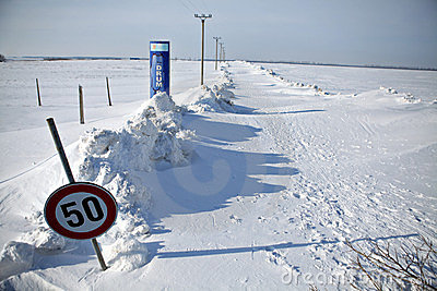 Snow-blocked road