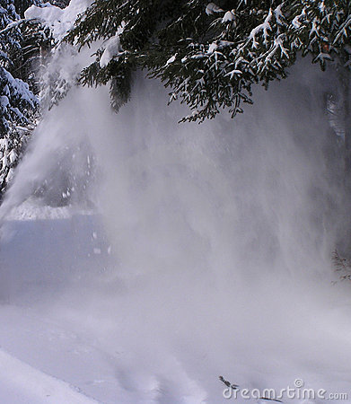 Snow blowing Stock Photo