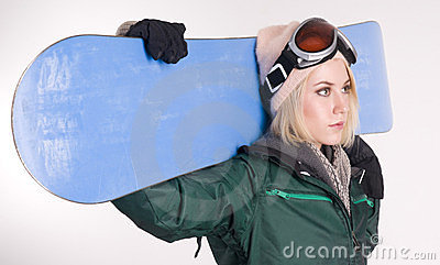 Stunning Blond Female Snow Boarder Snow Board