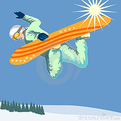 Snow boarder getting some air