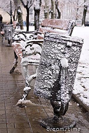 Snow-bound litter-bin and bench