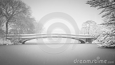 Snow on Bow Bridge and the Lake, Central Park, New