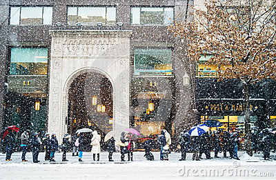 Snow Bus Line Editorial Image