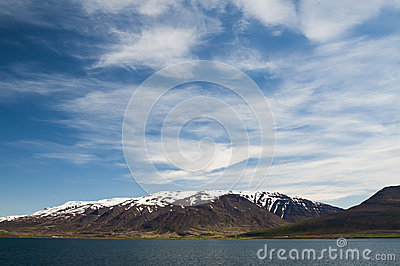 Snow capped Akureyri mountains