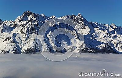 Snow capped Alpine peaks