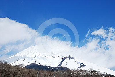Snow capped Mount Fuji