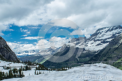 Snow-capped mountains in Glacier National Park