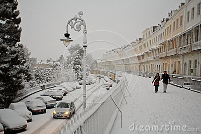 Snow, cars and people in Clifton Royal York Crescent Editorial Image