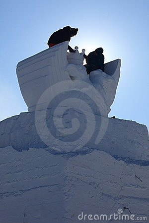 Snow Carving Editorial Stock Image