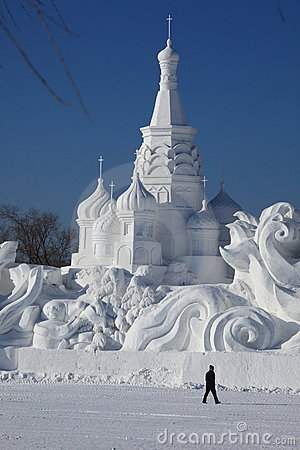 Snow Carving Editorial Photo