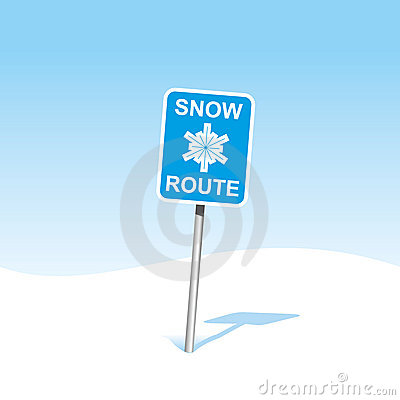 Snow caution sign