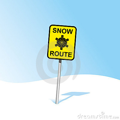 Snow caution sign