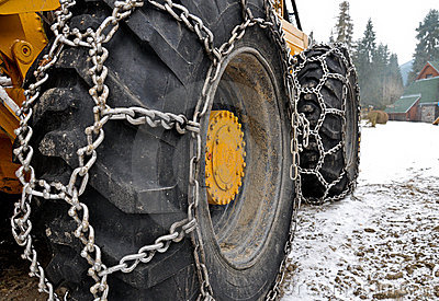 Snow chains on the big skidder wheels