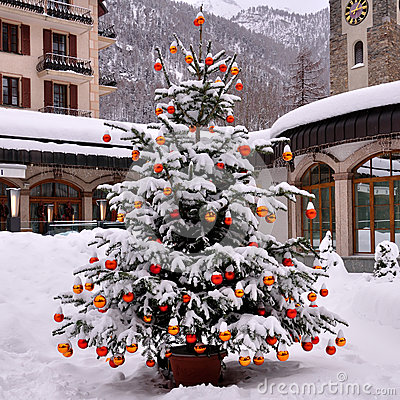 Snow on christmas tree