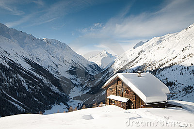 Snow coverd cabin