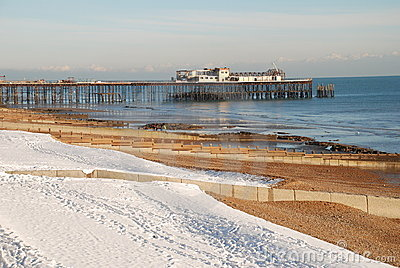 Snow covered beach, St.Leonards-on-Sea Editorial Photography