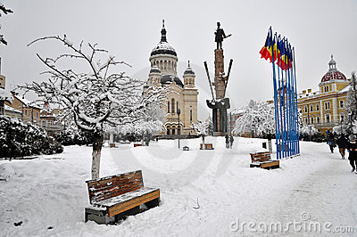 Snow covered city square, Cluj Napoca Editorial Stock Photo