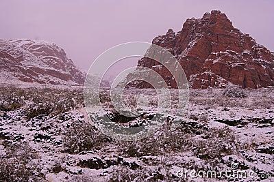 Snow covered desert red rock