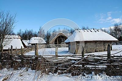 Snow covered farm buildings