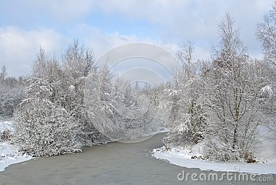 Snow-covered landscape with the river