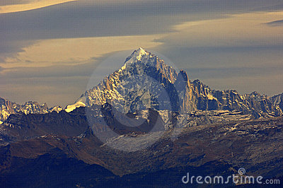 Snow-covered massif of Mt. Aiguille Verte