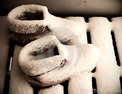 Snow covered morning boots