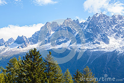 Snow covered mountains and rocky peaks in the Alps