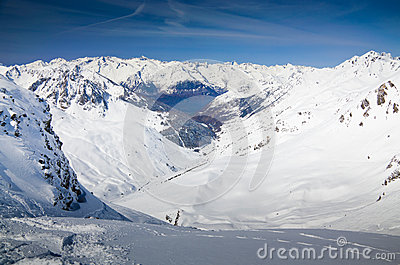 Snow-covered mountains in the spring Pyrenees