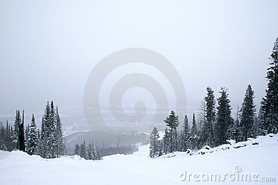 Snow covered mountainside