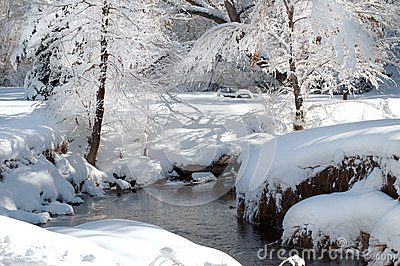 Snow covered park and stream