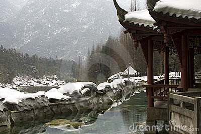 Snow covered pavilion