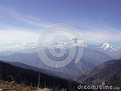 Snow covered peaks of Himalya