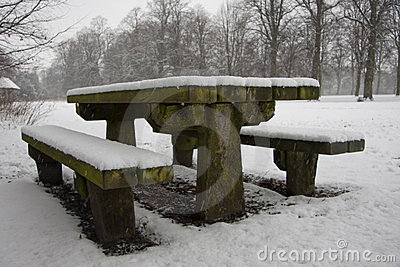 Snow covered picnic bench
