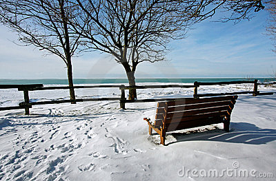 A snow-covered pier