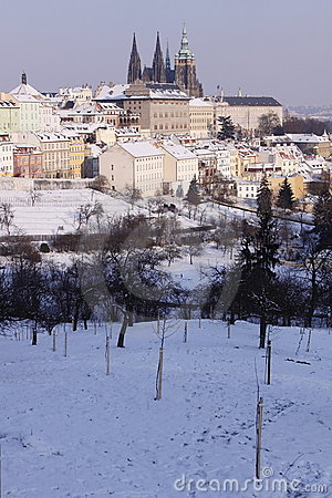 Snow-covered Prague castle