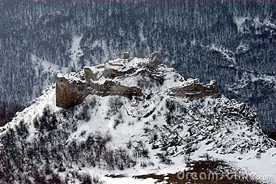 Snow covered ruins of a fortification, Romania